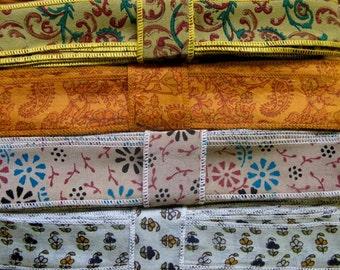Recycled Silk Ribbon, Silk Trim, 4 colors, R34