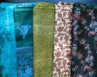 Silk Fat Quarters, Silk Fabric, Sari Silk FQ 50