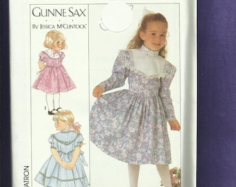 Vintage 1989 Simplicity 9738 Gunne Sax Country Western Dresses for Little Girls Sizes 3 to 6