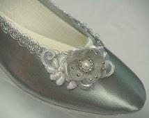 Wedding Silver Flats - Hand embellished, hand dyed flat silver shoes, Silver flower and silver trim, 25th anniversary, MOB MOG