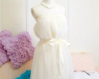 Sunshine Romantic ballerina beige ivory cream tutu tulle puff skirt dress 2-way + sash ,cute dress,reception dress,bridesmaid party