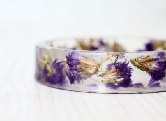 Forget-me-not bracelet - Epoxy resin bracelet - Real flower Bracelet