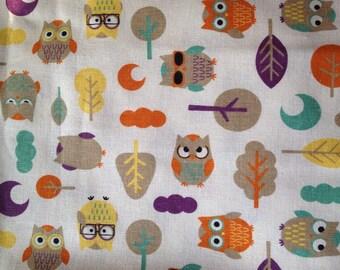 A Fat Quarter of Kawaii Japanese Cotton Linen Fabric - Owl and Tree Combo