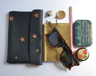 Hand Painted Leather Wallet Mini Clutch in Perforated Twilight and Metallic Copper Stars with Stud Closure