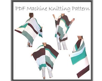 Poncho Pattern Machine Knit Knitting Striped Easy To Knit PDF Instant Download