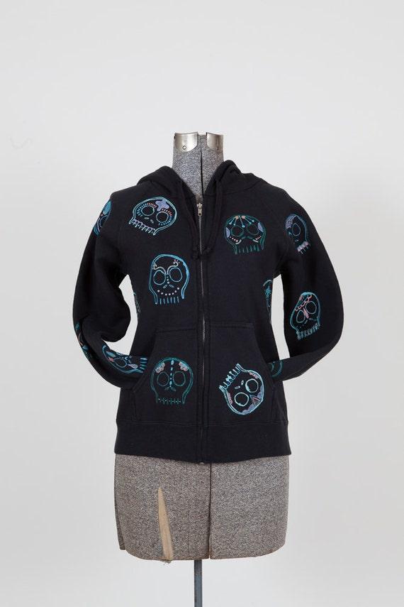 Womens small, colorful hand painted glittery sugar skulls on a black hanes zip hoodie, camping, beach, festival, urbanwear