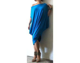 Off Shoulder Asymmetrical Dress/ Extravagant Loose Dress /  Oversize Tunic/ Dress Soft Cotton Viscose/ DR001