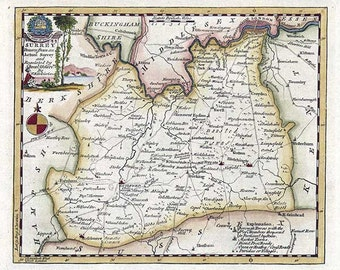 Surrey 1786. Antique map of Surrey, England, by Thomas Kitchin - MAP PRINT.