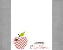 Teacher Notepad - Coral Chevron Print Apple with Brown Flower - Assorted Colors - Personalized Custom Notepads - Appreciation Gift - Kara.