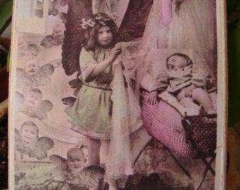 French Victorian, guardian angel & baby, tinted photo image on shabby chic wooden tag.