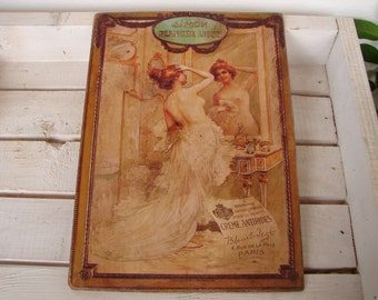 French shabby chic,French Victorian savon/soap advertsing image on wood