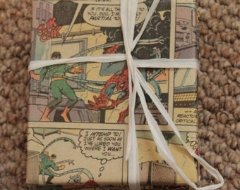 Spiderman and Doctor Octopus coasters  // Recycled Vintage Comic Book Coasters