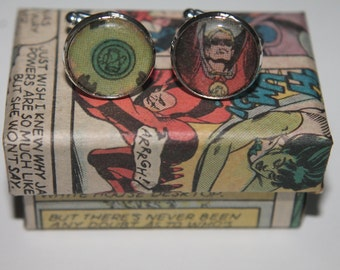 Green Lantern (Power ring and lantern)// Recycled comic Cufflinks// DC comic cufflinks
