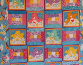 Care Bears Rainbow Patchwork Toddler Quilt.  Light and colorful, perfect quilt for Nap time or Day Care.