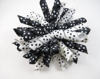 Black and White Polka Dot Korker Hair Bow  -  Black Korker Bow - White Korker Bow - Korker Hair Clip - Korker Hair Bow - Black and White Bow