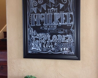 "WEDDING LYRICS to ""First Dance"" Chalkboard Art"