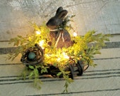 Lighted Grapevine Nest with Primitive Beeswax Bunny