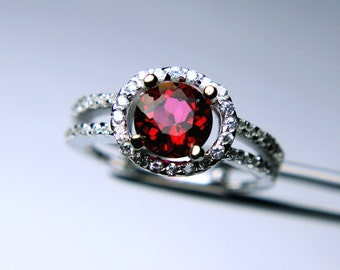Pretty Genuine Peony Topaz in a Glowing Accented Sterling Silver Setting