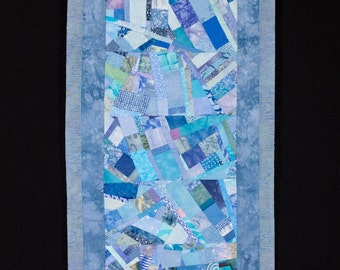 Modern Art Quilt Collage Wall Hanging in Light Blue//FREE SHIPPING