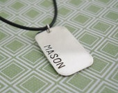 Personalized Men's Sterling Silver Dog Tag Necklace With Name
