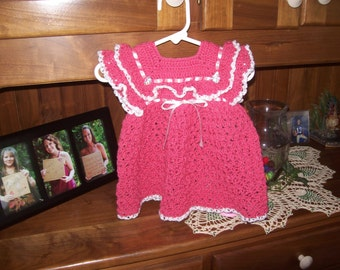 Dark Rose,Dress,Crocheted,Baby,Girl,Gift,Photo Prop,Infant,Clothing