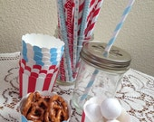 Light Blue & Red Stripe Small Baking Cups or Straw Assortment
