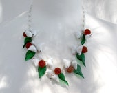 Glass birds necklace.Vintage jewelry. Murano white glass bird necklace. Little glass birds, green leaves and sparkly red berries.