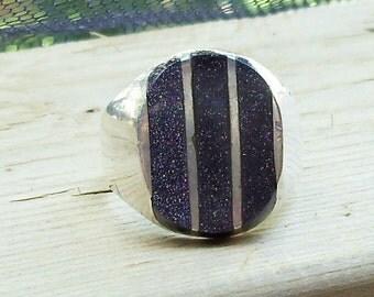 Vintage Genuine Deep Violet Goldstone Ring Sz 10, 925  Sterling Mexico