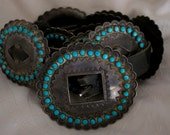 Antique Stamped Silver Concho Belt with inlaid Turquoise