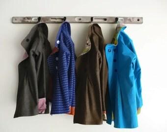 Winter Swing Coat in Corduroy Wool or Tweed Optional Hood Fully Lined Jacket for Warm Outerwear