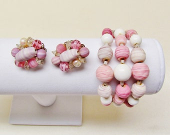 Vintage pink and white bracelet and earrings, 1950's summer jewelry, memory wire 3 row bracelet and clip earrings