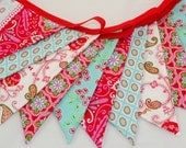 ON SALE *** Cheerful Party Bunting in Aqua & Red - The perfect decoration for Weddings, Parties and Baby Showers