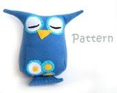 Stuffed owl pattern PDF sewing soft toy Nursery decor DIY