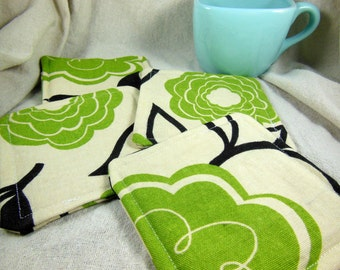 Green Flower Fabric Coaster - Green and Black Mug Rug - Set of Four