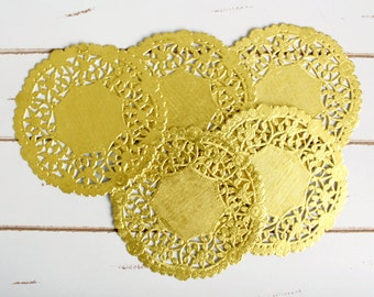 50 Metallic Shine Gold Paper Doily Doilies 6 inch - Rustic Wedding