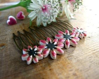 Burgundy flower hair comb Chrysanthemum, bronze tone Autumn colour
