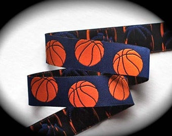 """Basketball Woven Jacquard Ribbon - 1"""" x 3yards - Blue and Orange - New Arrival"""