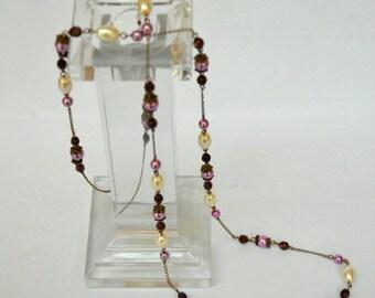 Pink cream bronze long delicate necklace