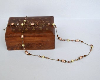 Cream peach pink and bronze long delicate necklace
