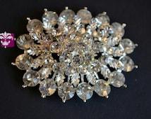 FLATBACK Large Rhinestone Metal Crystal Clear Embellishment 55mm x 44mm - Flower Centers - Buttons - Wedding Bridal Prom