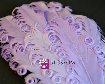 1 Curly Nagorie Feather Pads - Goose Feather Pad - Lavender feathers - diy headband hair clip hat newborn photo prop baby- wedding supplies