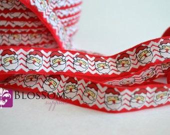 2 or 5 Yards SANTA Chevron 5/8 Inch Printed Fold Over Elastic - foe - Red White - Santa Clause - Christmas Supplies - DIY Headbands