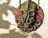 Cthulhu medal pendant polymer clay OOAK