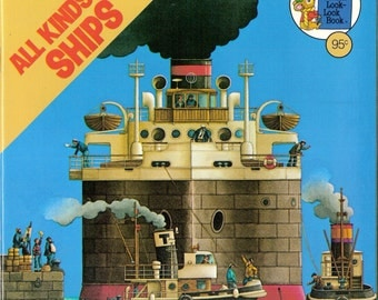 All Kinds of Ships Vintage Golden Look Look Book by Seymour Reit Illustrated by Roberto Innocenti