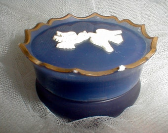 Vintage Avon Empty Rapture Sachet Jar *Amethyst With White Doves* Vanity Table Accessory