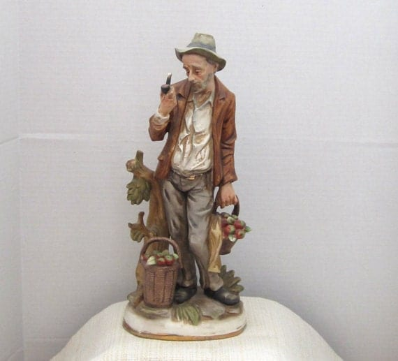 Vintage Ole Man and HIs Pipe  Ceramic Figurine Collectible Made in Japan c.1950