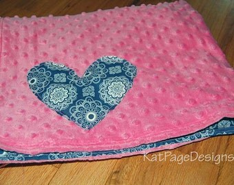 Baby Throw Blanket - Blue & Pink modern Print with Heart