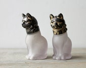 Unique vintage cat salt and pepper shakers / frosted glass / metal / eclectic collectible home decor / retro cats / two glass cat figurines