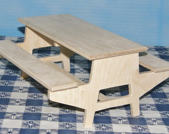 Summer time  Mid-size Unfinished picnic table for 6 dolls