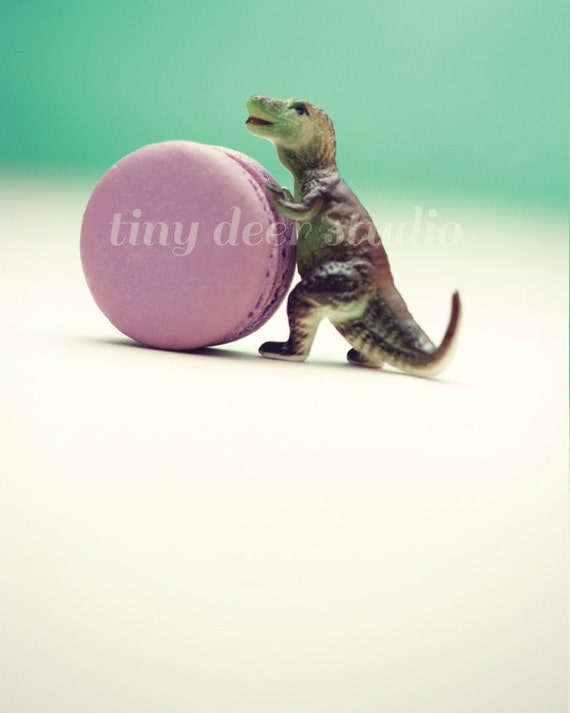 Macaron Baby -Tiny T-Rex Thief 8x10 PRINT